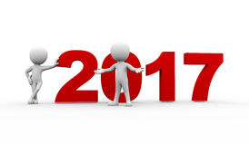 3d people new year 2017 welcome Royalty Free Stock Photo