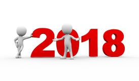 3d people new year 2018 welcome Stock Photography