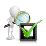 3D people with OK sign and Magnifying Glass. Over white background Royalty Free Stock Photo