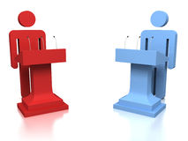 3D people opponents in a debate over a white background Royalty Free Stock Images