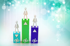 3d  people with percentage graph Stock Photography