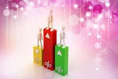 3d  people with percentage graph Royalty Free Stock Photos