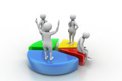 3d people with pie chart. Business competition Stock Photos