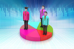 3d people with pie chart. In color background Royalty Free Stock Photo
