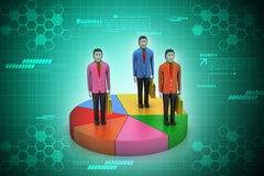 3d people with pie chart. In color background Royalty Free Stock Photos