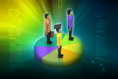 3d people with pie chart. In color background Stock Images