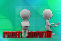 3D people profit and growth illustration Royalty Free Stock Photo
