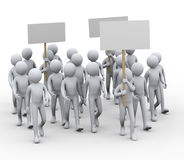 3d people protest strike vector illustration