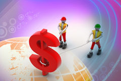 3d people pulling dollar symbol with a rope. In color background Stock Images