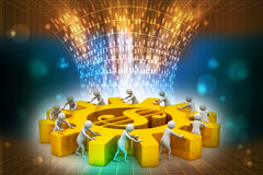 3d people push the dollar wheel Stock Images