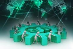 3d people push the dollar wheel Stock Image