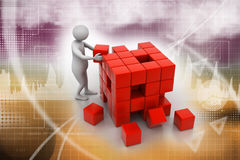 3d people pushing a cube Stock Images