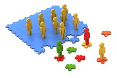 3d  people with puzzle piece Royalty Free Stock Photo