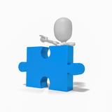 3d people puzzle solution idea. 3d people points at solution Stock Image