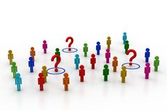 3d people with question mark Stock Photo