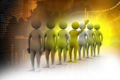 3d people in queue Royalty Free Stock Image