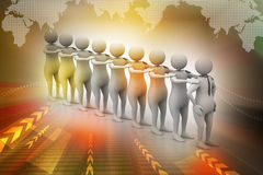 3d people in queue Royalty Free Stock Photos