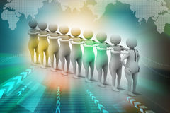 3d people in queue Stock Images