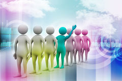 3d people in queue Royalty Free Stock Photo