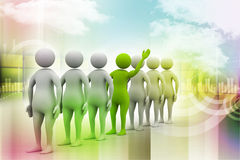 3d people in queue. In color background Stock Illustration