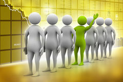 3d people in queue. In color background Vector Illustration