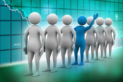 3d people in queue. In color background Royalty Free Illustration