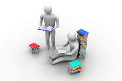 3D people reading book, education concept Royalty Free Stock Photo