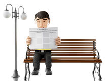 3d People reading on a wooden bench. 3d illustration. People reading a newspaper on a wooden bench.  white background Stock Photos
