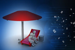 3d people resting under the umbrella Royalty Free Stock Photo