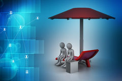 3d people resting under the umbrella Royalty Free Stock Images