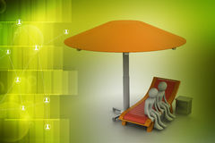 3d people resting under the umbrella Stock Photography