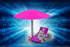 3d people resting under the umbrella Royalty Free Stock Photography
