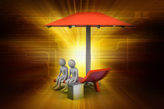 3d people resting under the umbrella Royalty Free Stock Photos