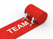 3d people rolling red team carpet Stock Image