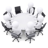 3d people at the round table. One chair is empty Stock Photos