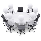 3d people at the round table. One chair is empty Royalty Free Stock Image