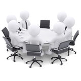 3d people at the round table. One chair is empty stock illustration