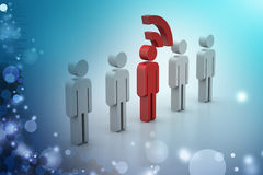 3d people with rss symbol Royalty Free Stock Images