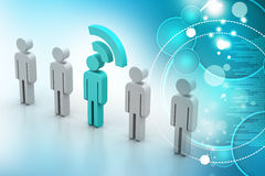 3d people with rss symbol Royalty Free Stock Photography