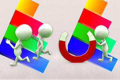 3d People Running Away From Magnet Illustration Royalty Free Stock Image