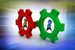 3d people running the gear Royalty Free Stock Image