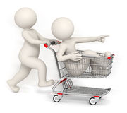 3d people running with shopping cart Stock Photos