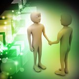 3d people are shaking hands. In color background Royalty Free Stock Photography