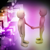 3d people are shaking hands. In color background Stock Photography