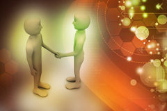 3d people are shaking hands. In color background Royalty Free Stock Photos