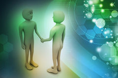 3d people are shaking hands. In color background Royalty Free Stock Photo