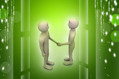 3d people are shaking hands. In color background Stock Photos