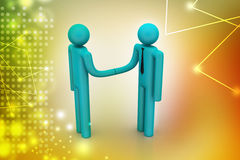 3d people are shaking hands. In color background Stock Image