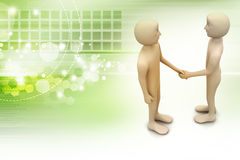 3d people are shaking hands. In color background Royalty Free Stock Images