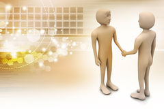 3d people are shaking hands. In color background Stock Photo